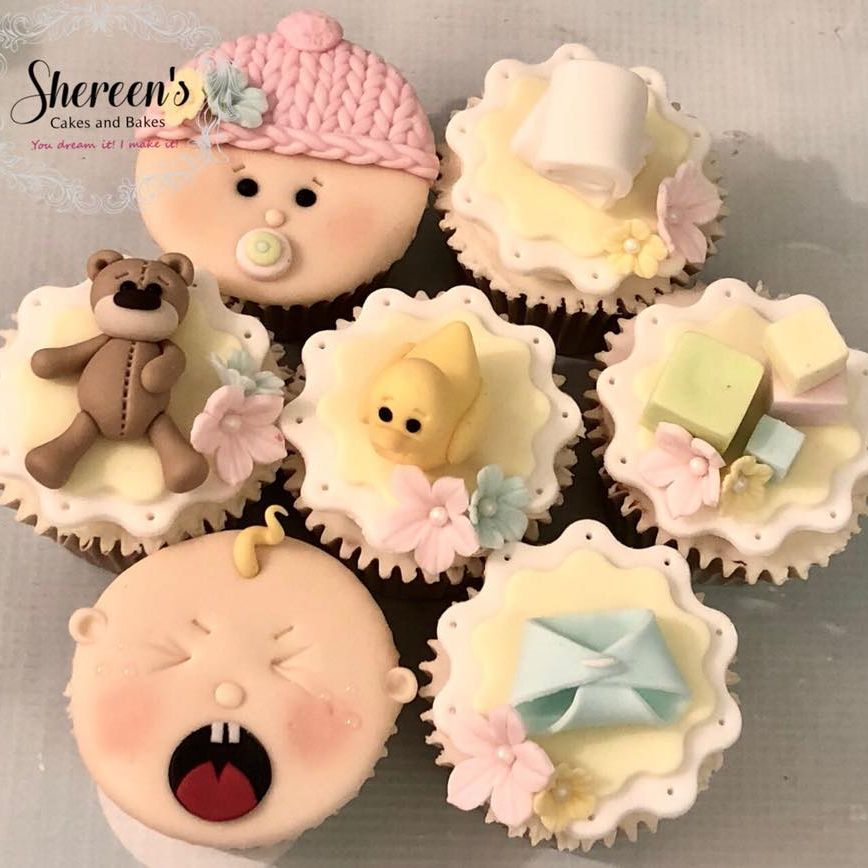 Baby Shower Cupcakes Pastel Neutral Nappie Diaper Teddy Bear Baby Face Blocks Duck Towel