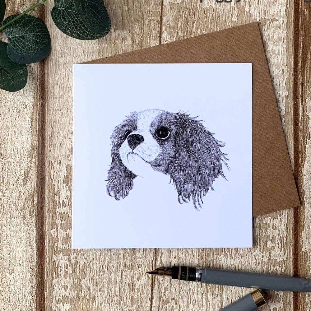 King Charles Spaniel dog  card pen & ink sketch