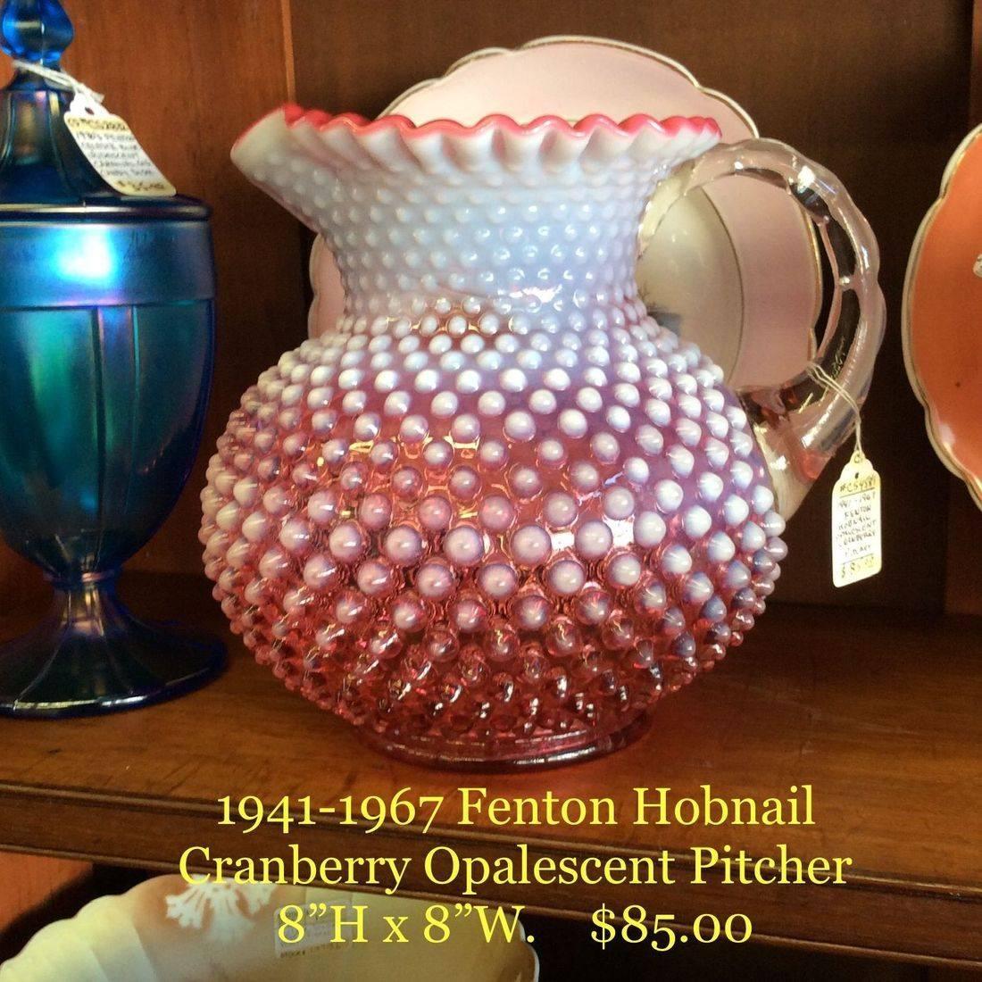 1941-1967 Fenton Hobnail Cranberry Opalescent Pitcher   $85.00