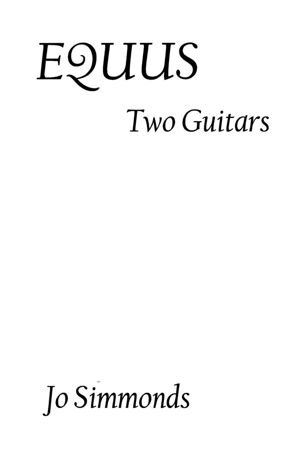 Guitar sheet music,  Equus - Jo Simmonds, Equus Libero, guitar duet