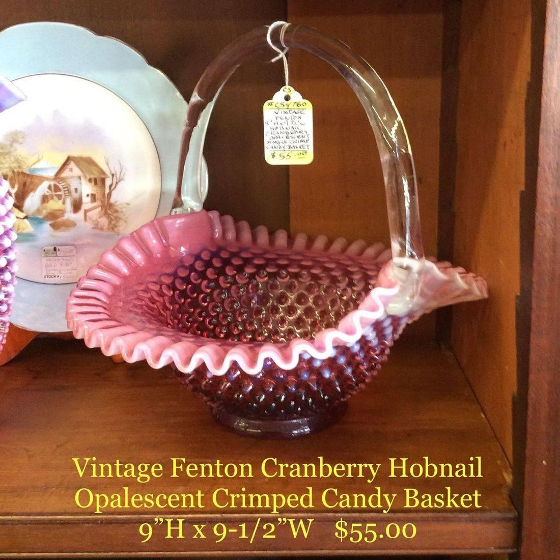 "Fenton Cranberry Hobnail Opalescent Crimped Candy Basket  9""H x 9-1/2""W    $55.00"