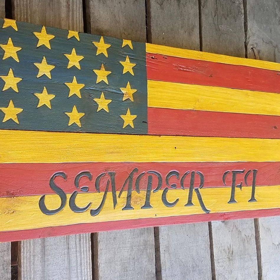 USA Handmade Reclaimed Pallet Wood American Military Semper Fi  Flag