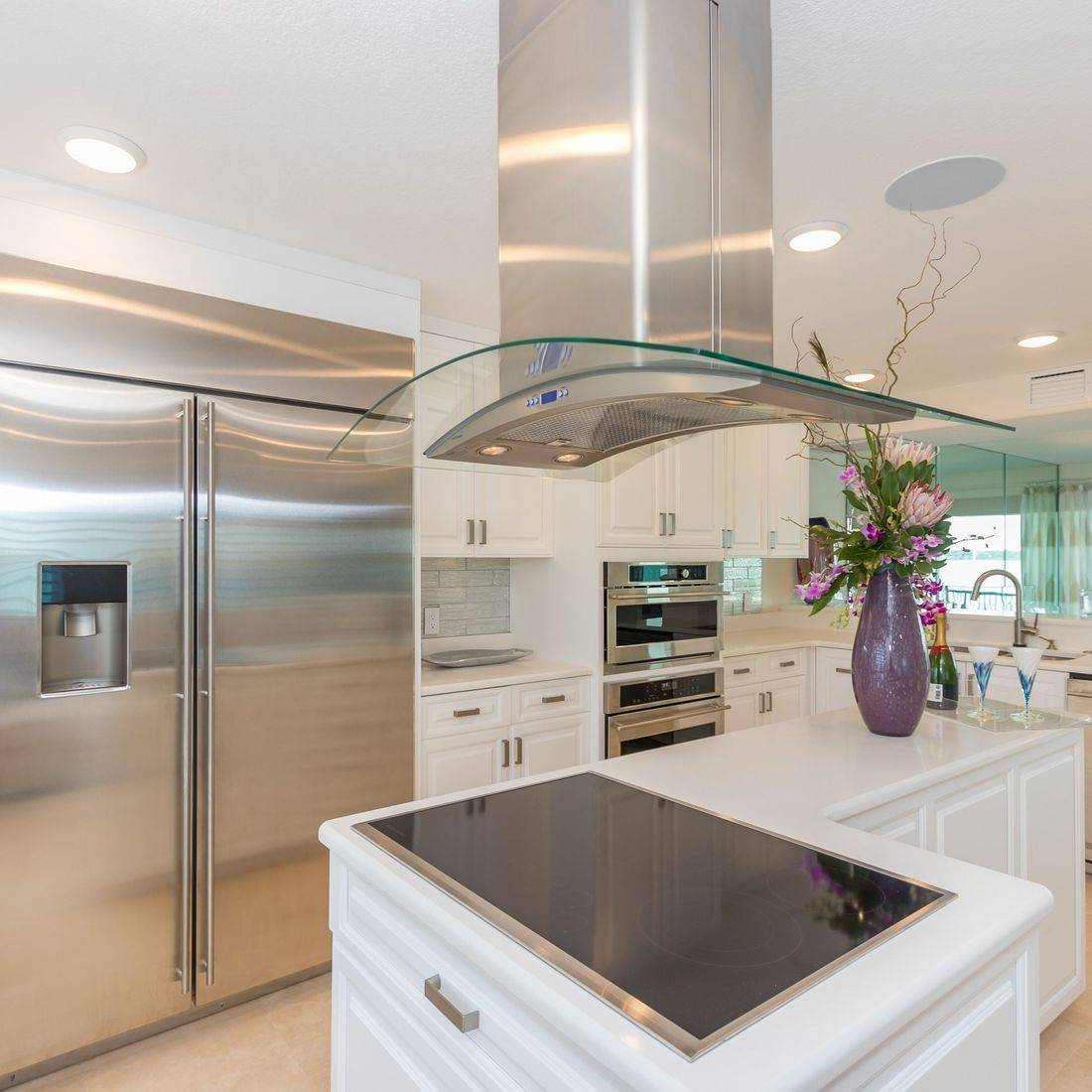 Contemporary Kitchen, motorized shades