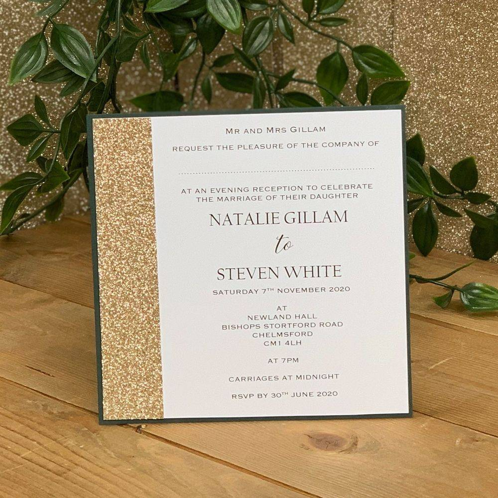 Glitter Belle - Champagne Glitter and Racing Green  Evening Invitation