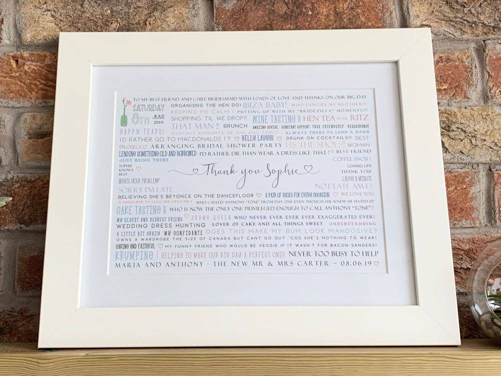 Gifts for Bridesmaids, personalised word print