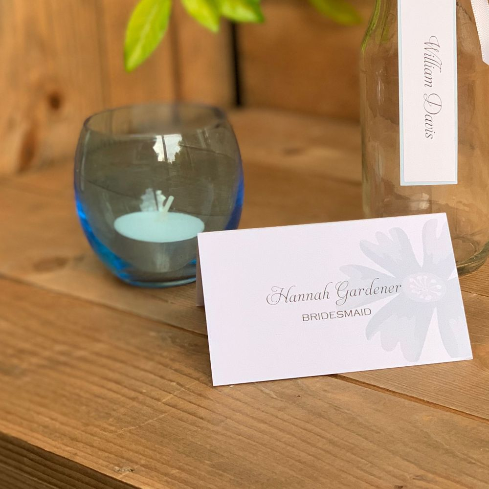 Pale  blue and white Place name cards with guest name