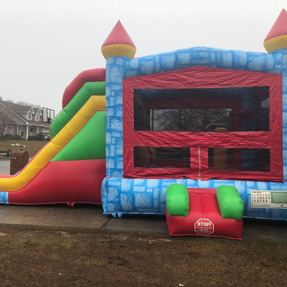 blue castle bounce house dry slide combo