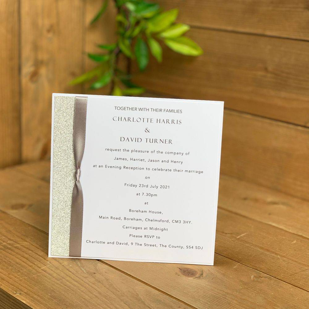 Wedding evening invitations, white with silver glitter