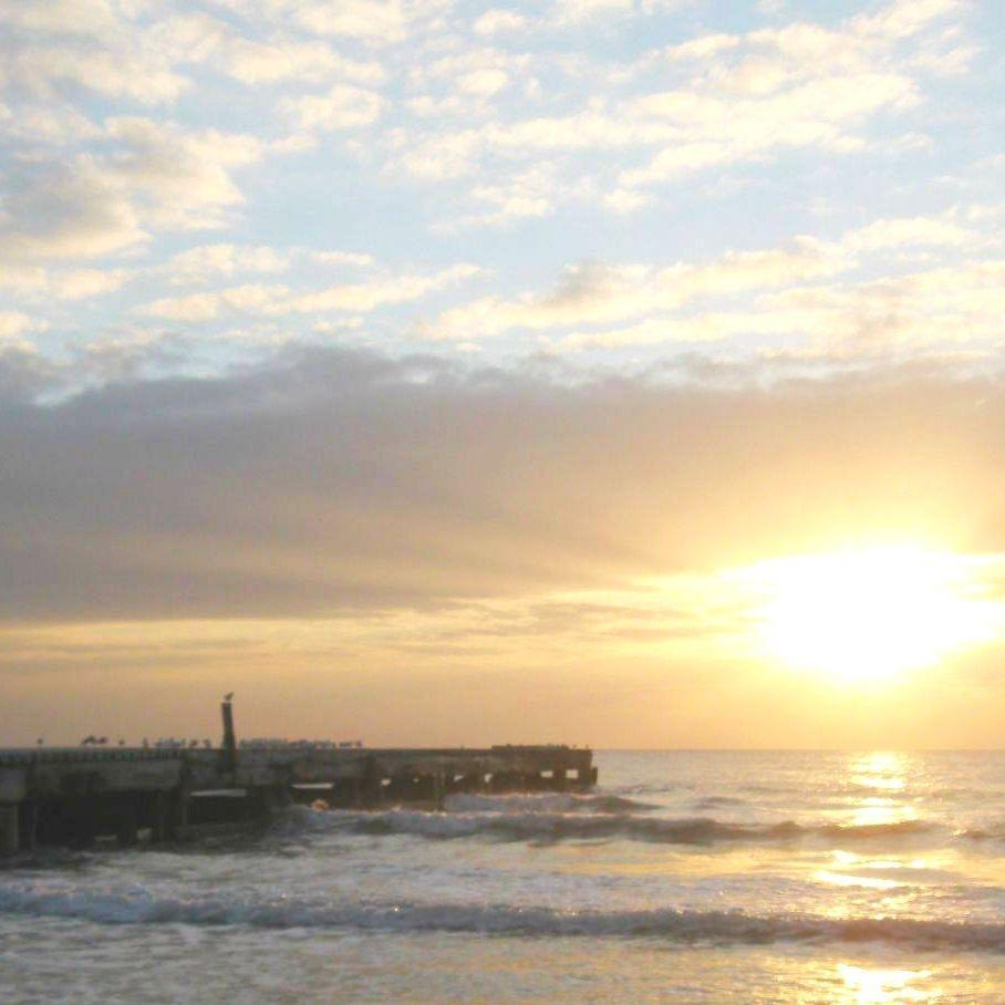 Pier, Seagulls, Birds, Water, Ocean, Sun, Sunset, Clouds, Sea, Beach, Waves, Anna Maria Island, Bradenton, Florida