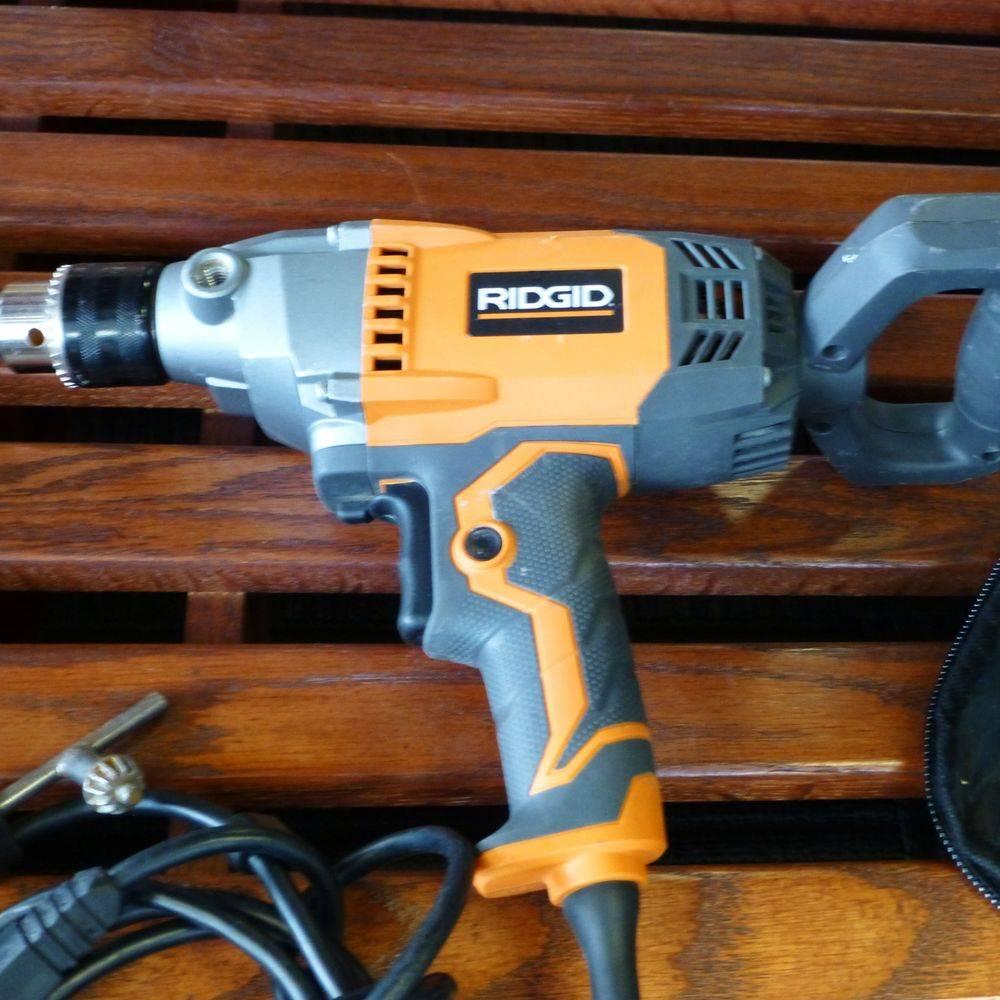 Ridgid Corded Orange and Gray Spade Handle Drill