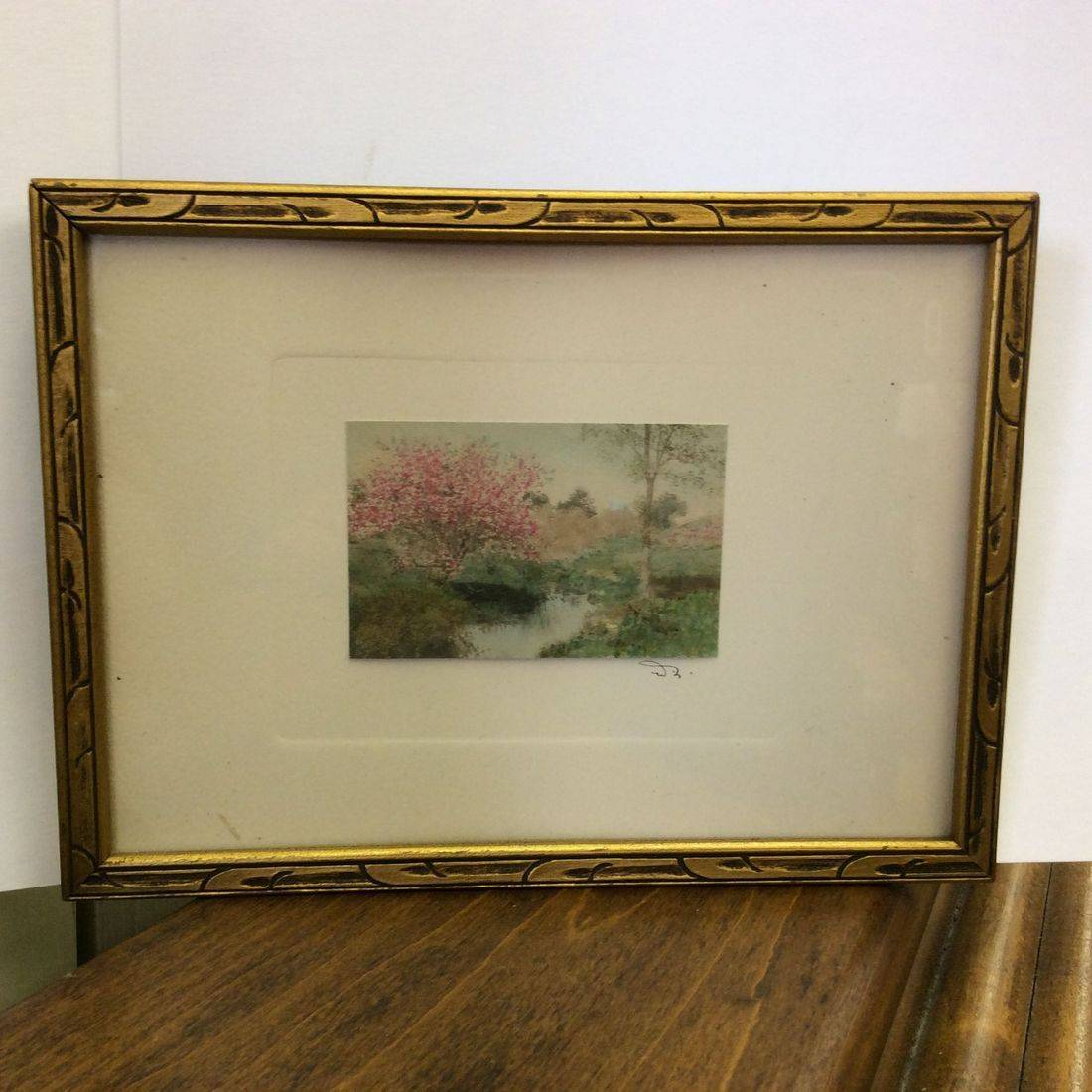 """Early 1900's Wallace Nutting  """"Blossoming Tree by a Creek"""" Hand-Tinted Mini Print  3"""" x 2""""  frame:  7-1/2"""" x 5-1/2""""   $25.00"""