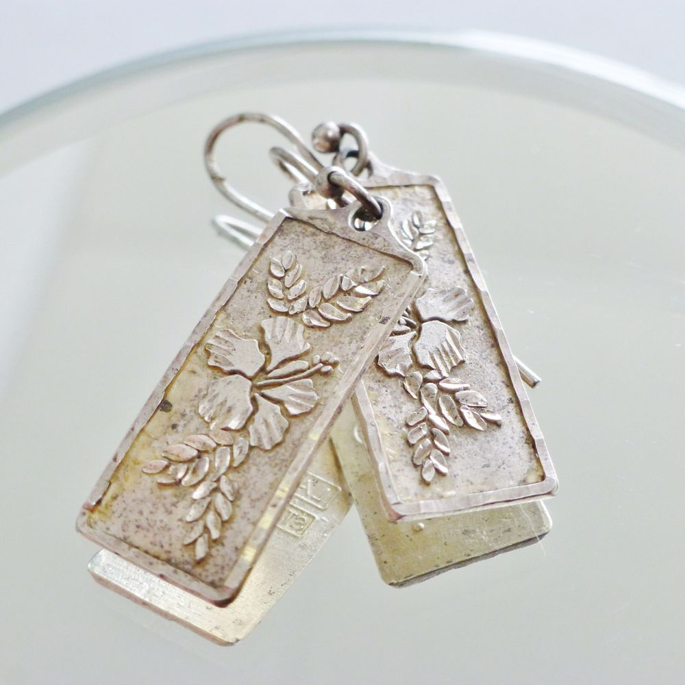 Sterling Silver Rectangle Dangle Earrings with an engraved Hawaiian Hibiscus flower design engraved