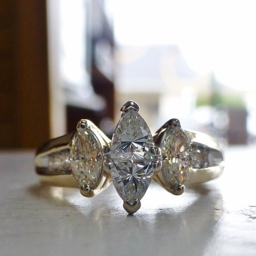 Pawn Shop Diamond Marquise Engagement Ring