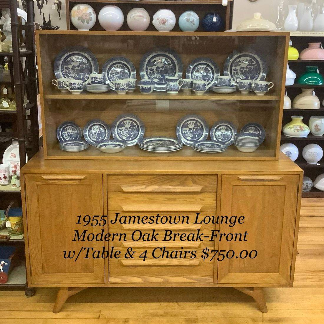 1955 Jamestown Lounge Modern Oak Break front  1 of 6-pc. Set w/Table, 4-Chairs, 3–Leafs and Pads   $750.00