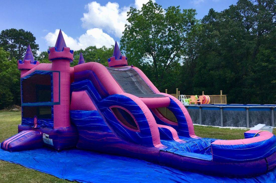 Purple marble castle bounce house waterslide combo inflatable party rental
