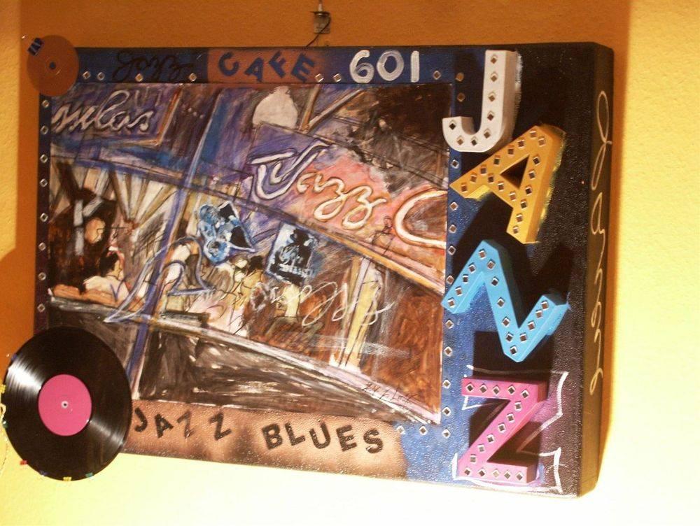 Jazz Café : 3-D-Collage on styro 79 cm x 114 cm