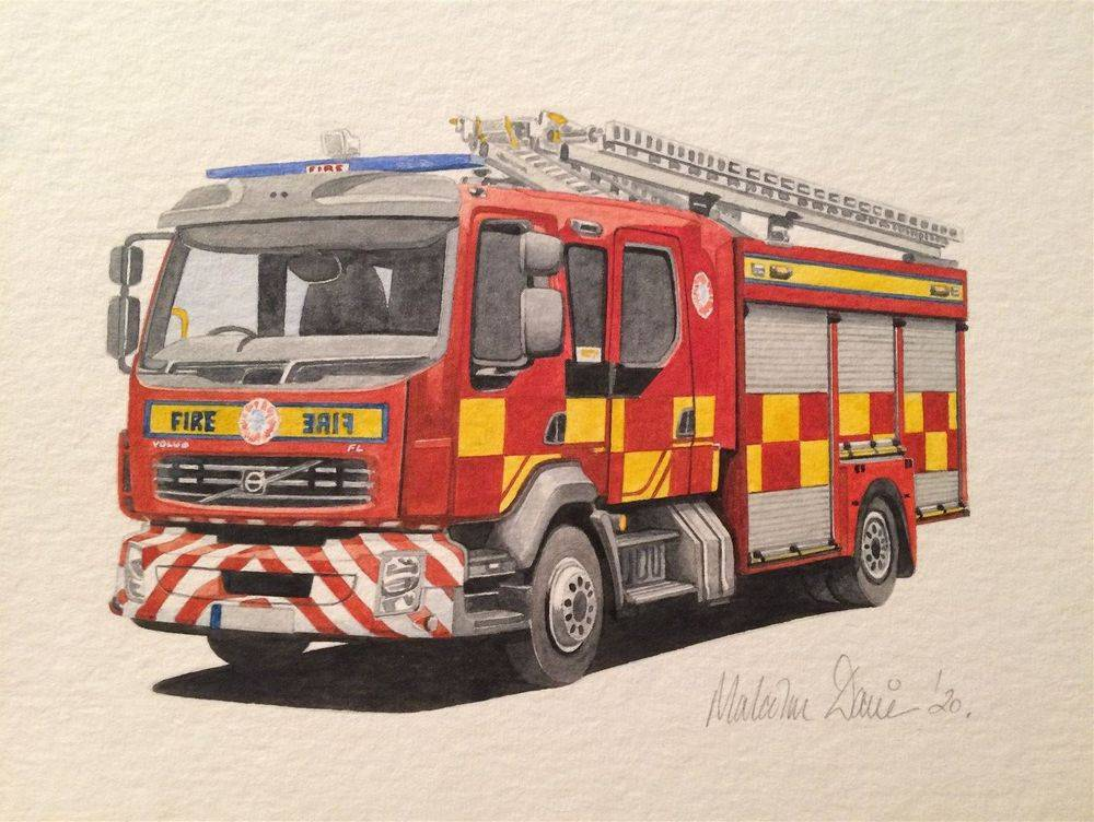 UK Fire Engine (Size A4) : Watercolour - £40.00