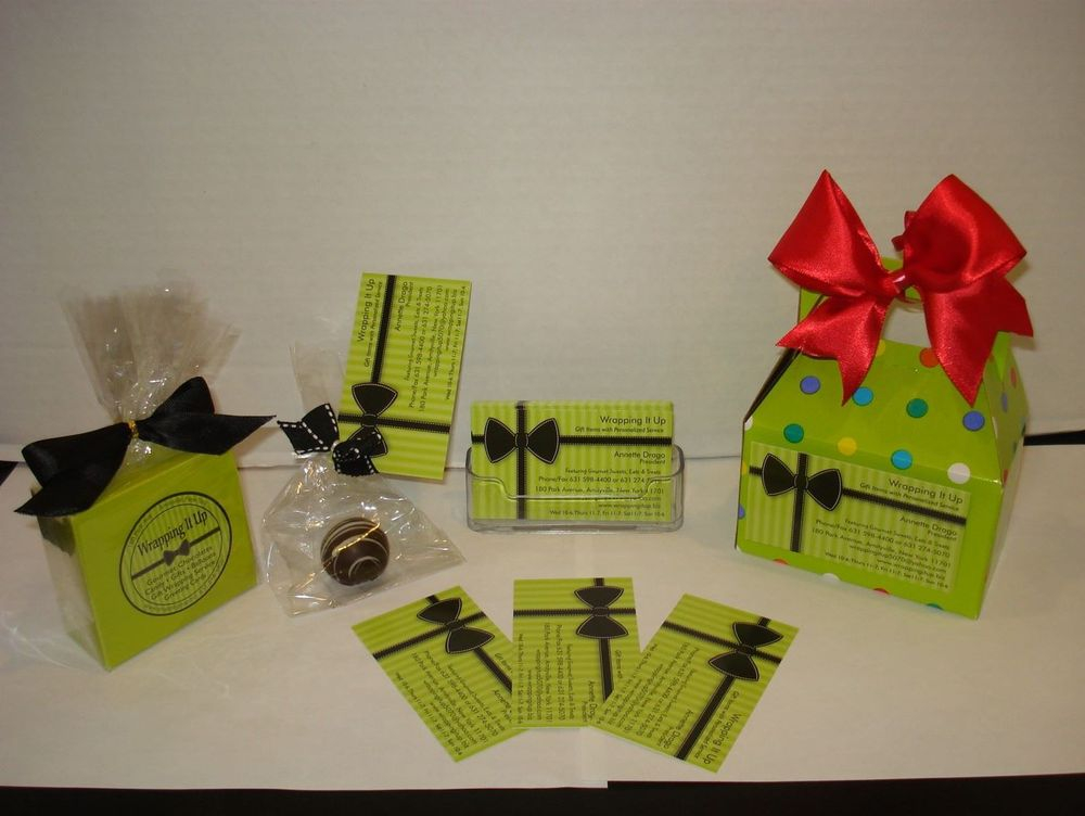 """: Your business card on a small box filled with goodies can be the perfect way to say, """"Sorry I Missed You!"""" (Other Styles Available)"""