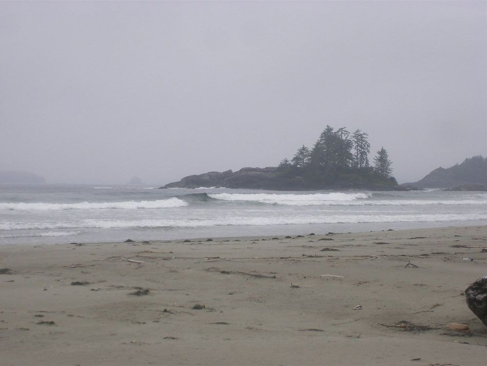 Beachcombing on Vargas Island.  The photo below is the same point at sunset.
