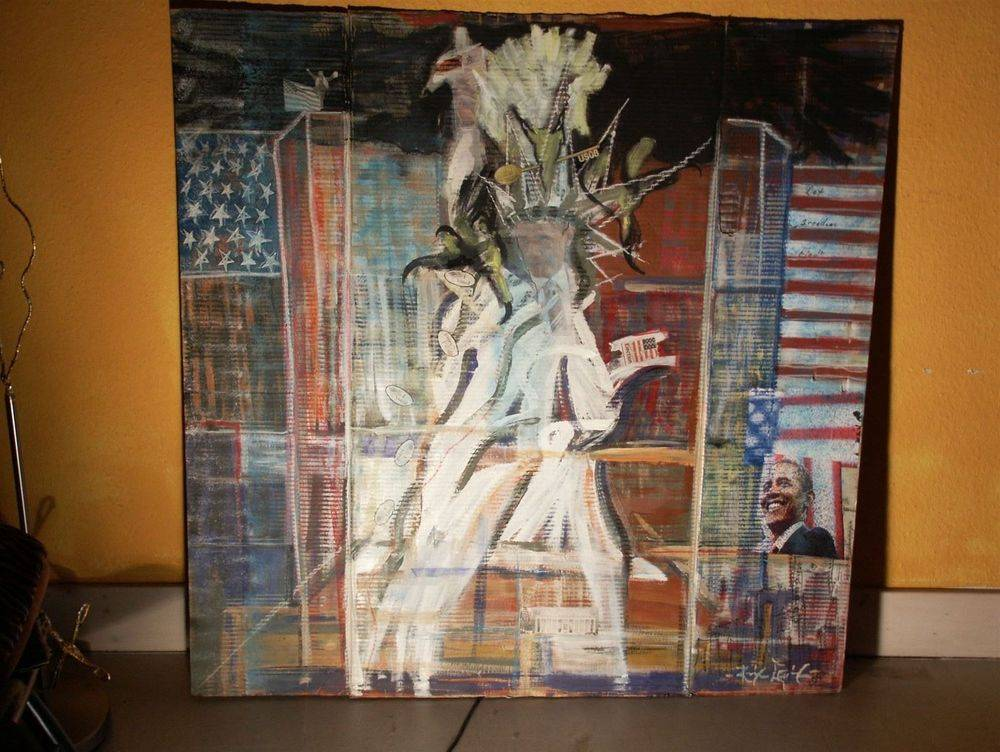 Statue of Liberty : Collage on cardboard 118 cm x 118 cm