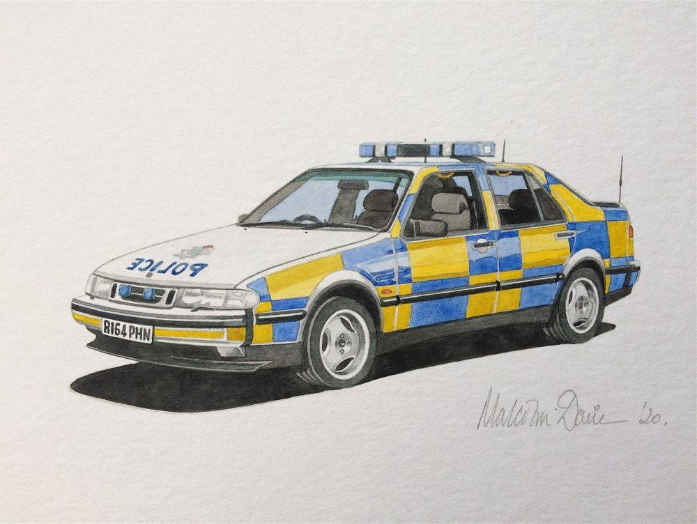 Saab 9000 in Cleveland police colours (Watercolour) - Finished 2020 : COMMISSION - Sold