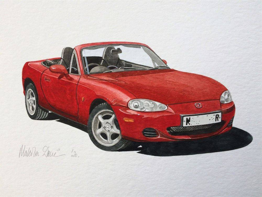 Mazda MX5 Mark 2 (Watercolour) - Finished 2020 : COMMISSION - Sold