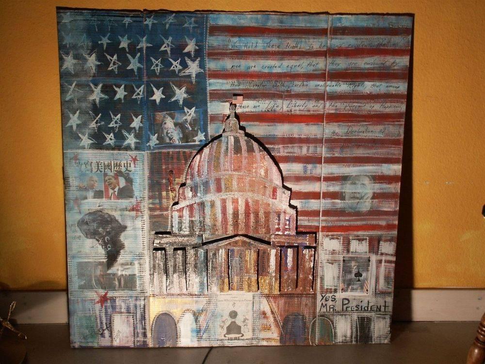Congress : Collage on cardboard 118 cm x 118 cm