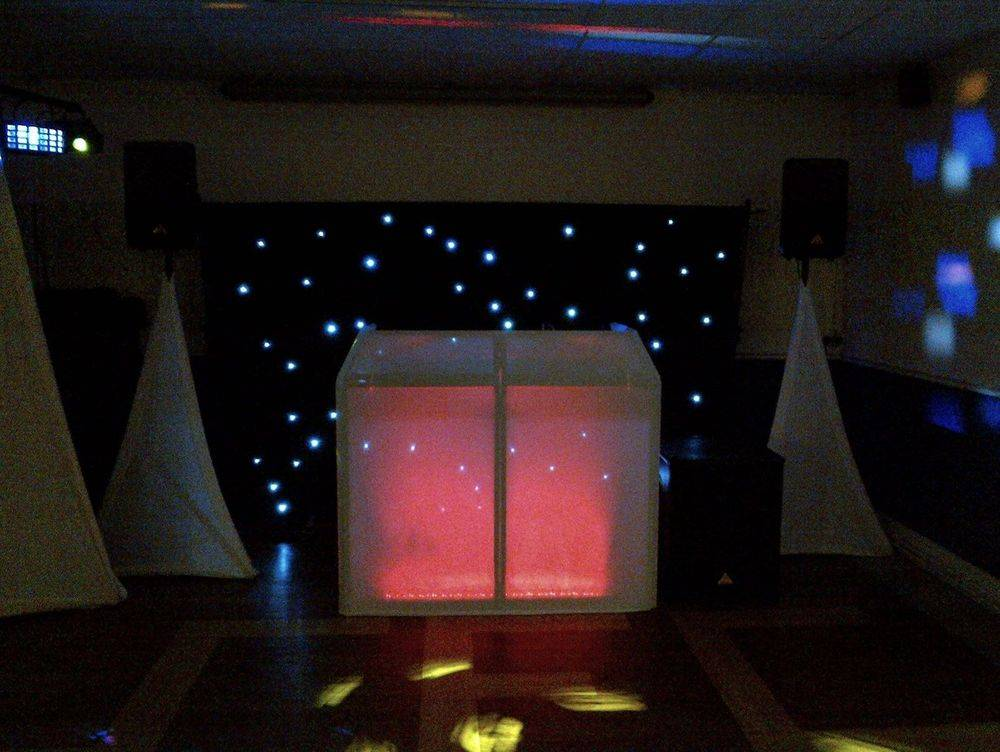 LED Star Curtain behind Wedding DJ, Southport FC