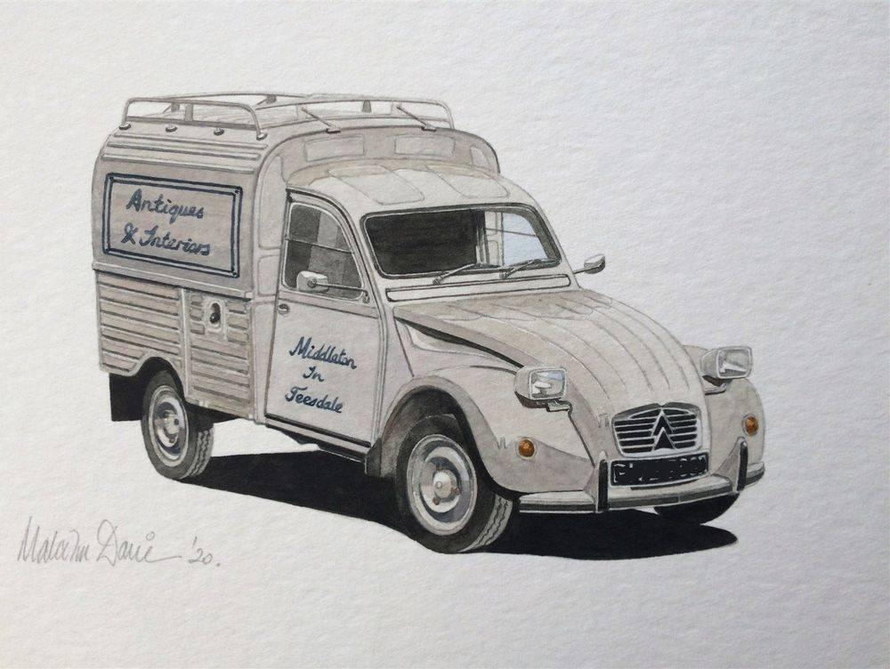 Citroen 2CV Van (Watercolour) - Finished 2020 : COMMISSION - Sold