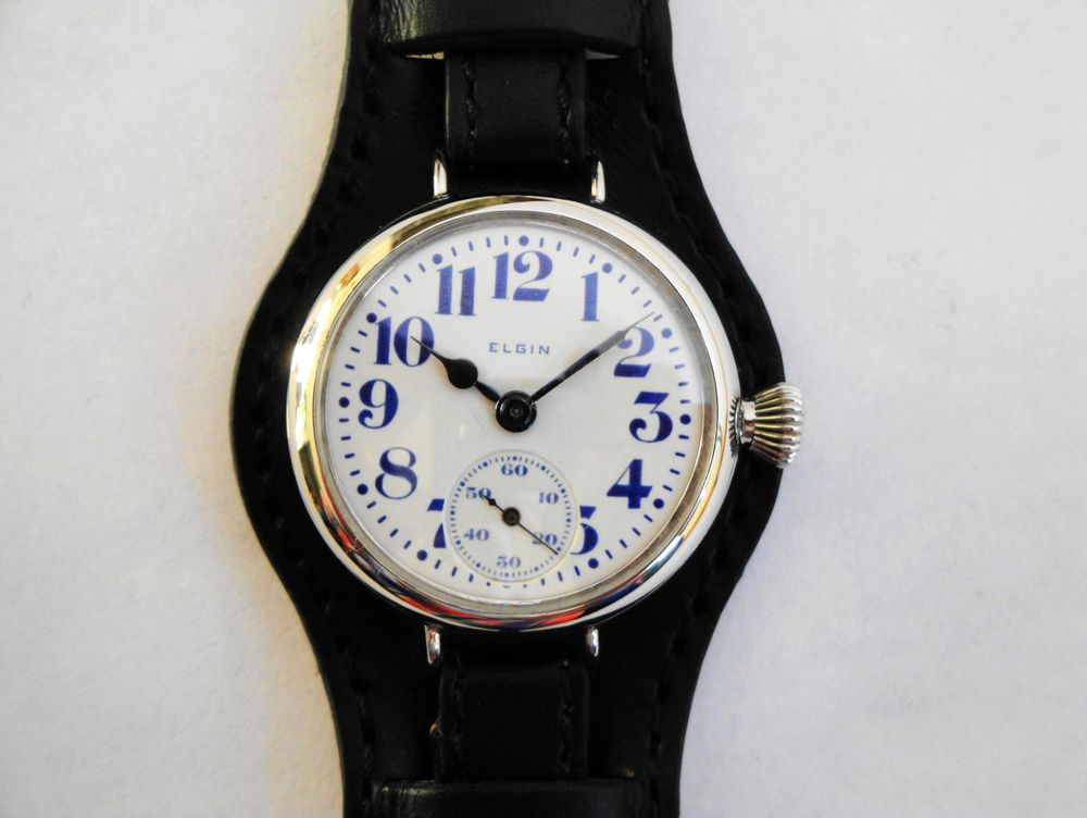 1916 WWI Elgin Trench Watch, BLUE BOLD Arabic Font
