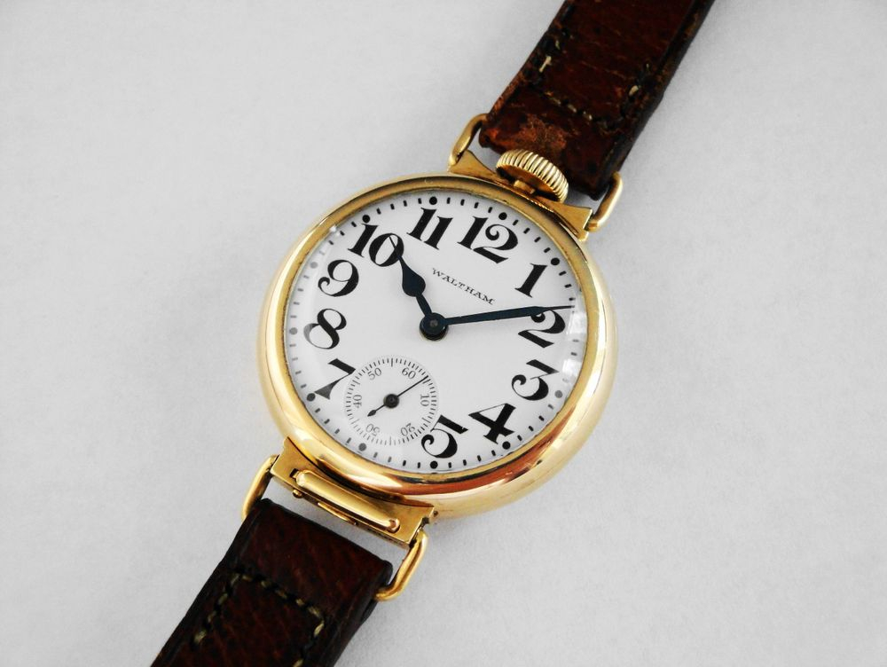 "EXTREMELY RARE 14k SOLID GOLD 1916 WWI Waltham Depollier ""D-D"" Utility Trench Watch, 15 Jewels, BOLD Arabic Enamel Military Dial, Antique Leather Strap"