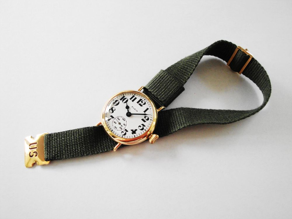 """1918 14k Solid Gold Elgin Trench Watch w/ 14k """"US"""" Buckle"""