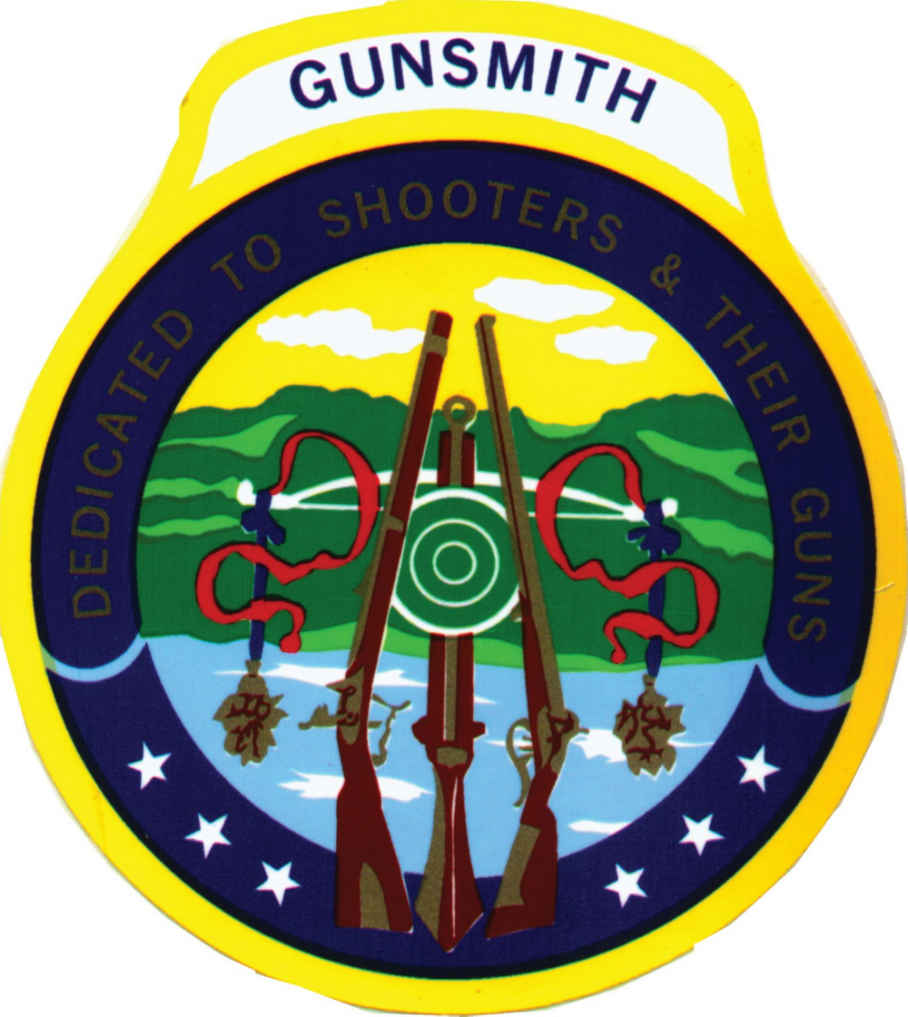 """gunsmithing logo with guns on a natural background with red ribbons """"dedicated to shooters and their guns"""""""