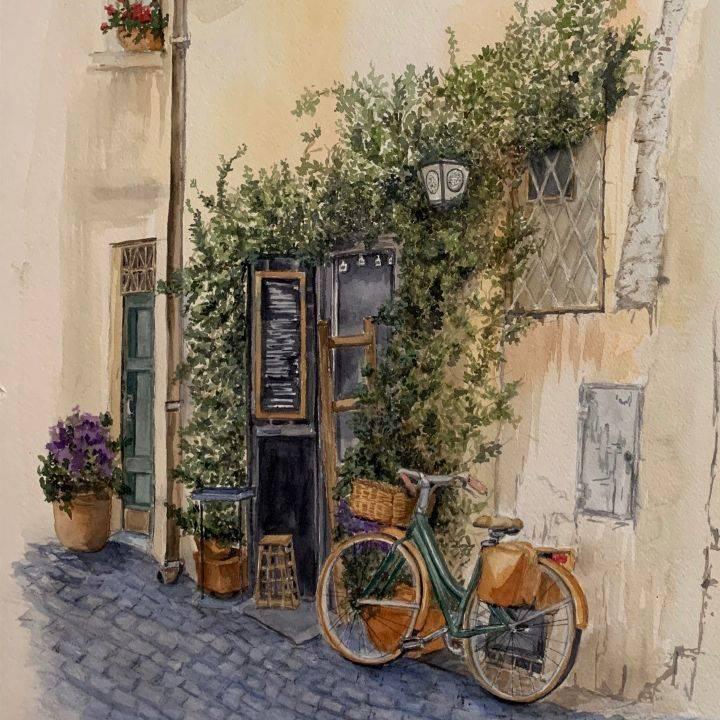 "SBaeckmann - La Fiaschetta - 15"" x 22""  Watercolors -  Matted in Sleeve - $400"