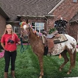 Girl wearing a red tee shirt standing next to a appaloosa brown and white horse