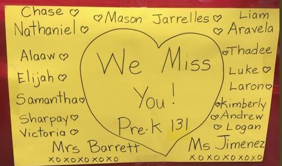 Poster on card reads we miss you pre-k 131 and lists all students names