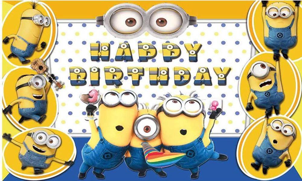 Despicable Me Minions Happy Birthday Party Backdrop