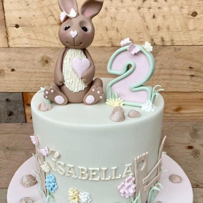 Bunny Birthday Cake Cute pastel pretty
