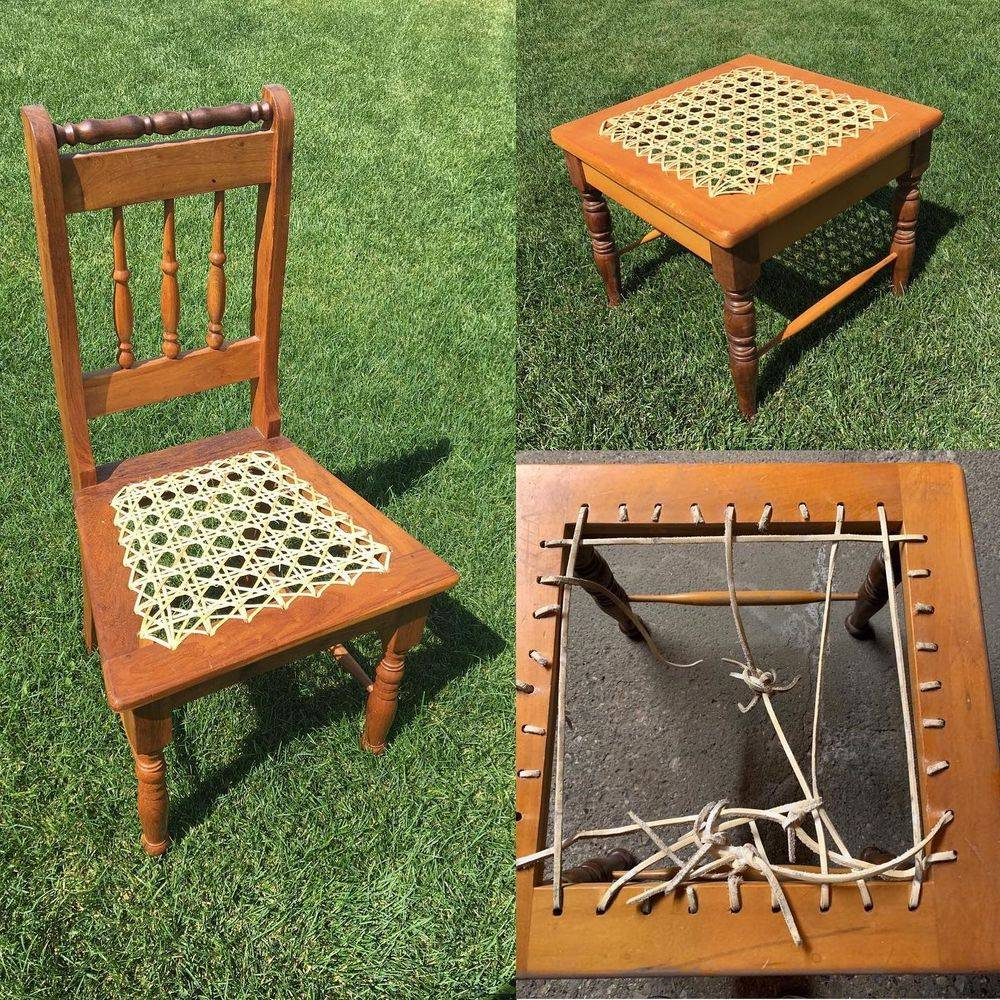 Riempie furniture woven with two gauges of cane
