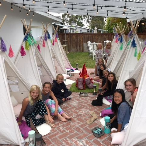 Kids party rentals, party rentals, teepee party, teepee rentals, kids birthday party, kids, fun, birthday, camping, glamping, Newport Beach, Orange County, CA