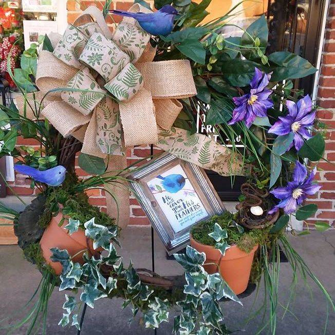 Blue birds, greens, double bow, moss, ivy, pots, morning glory, Psalm w/frame, vine wreath