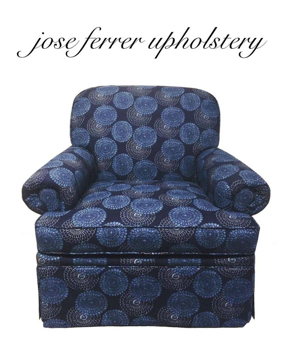 modern size chair redone in blue furniture fabric with round design pattern