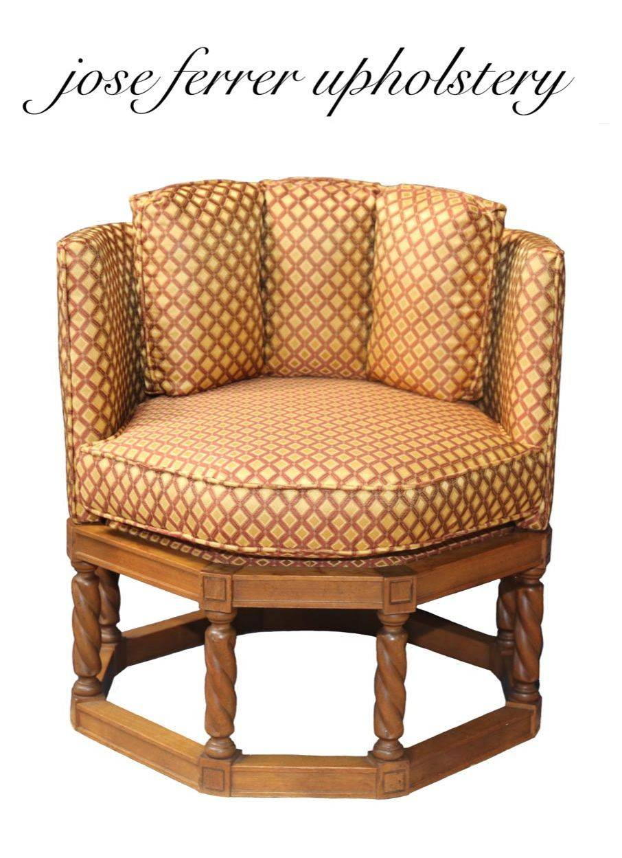 unique style chair recovered in brown and gold diamond print