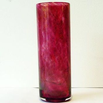 Azurene cylinder vase with flame pontil, 18.5cm h x 20.5 circ