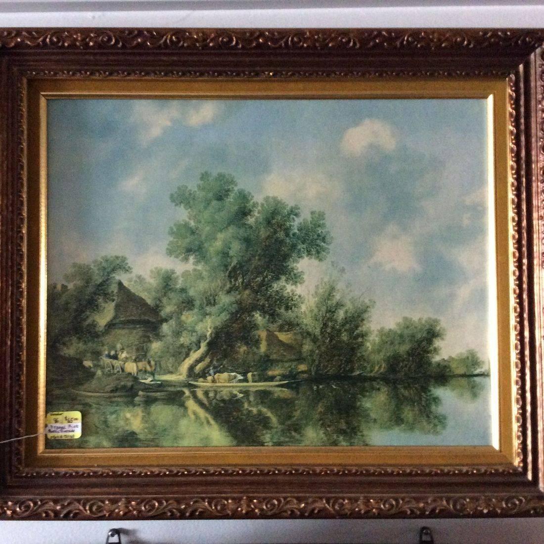 """Vintage Framed, Rustic Riverside Print 19-3/4"""" X 23-3/4""""   $65.00"""