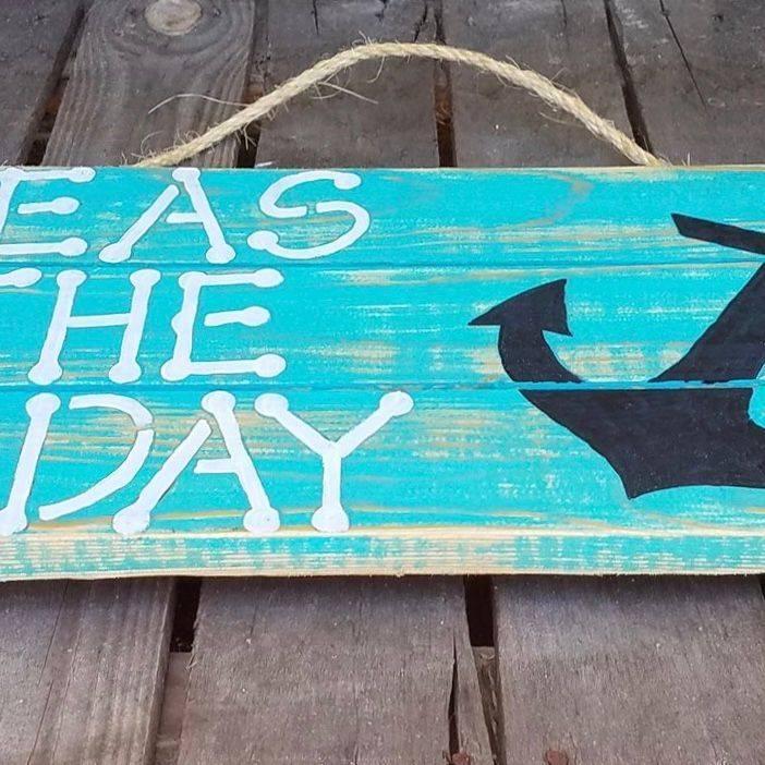 USA Handmade Reclaimed Pallet Wood Seas The Day Beach Sign
