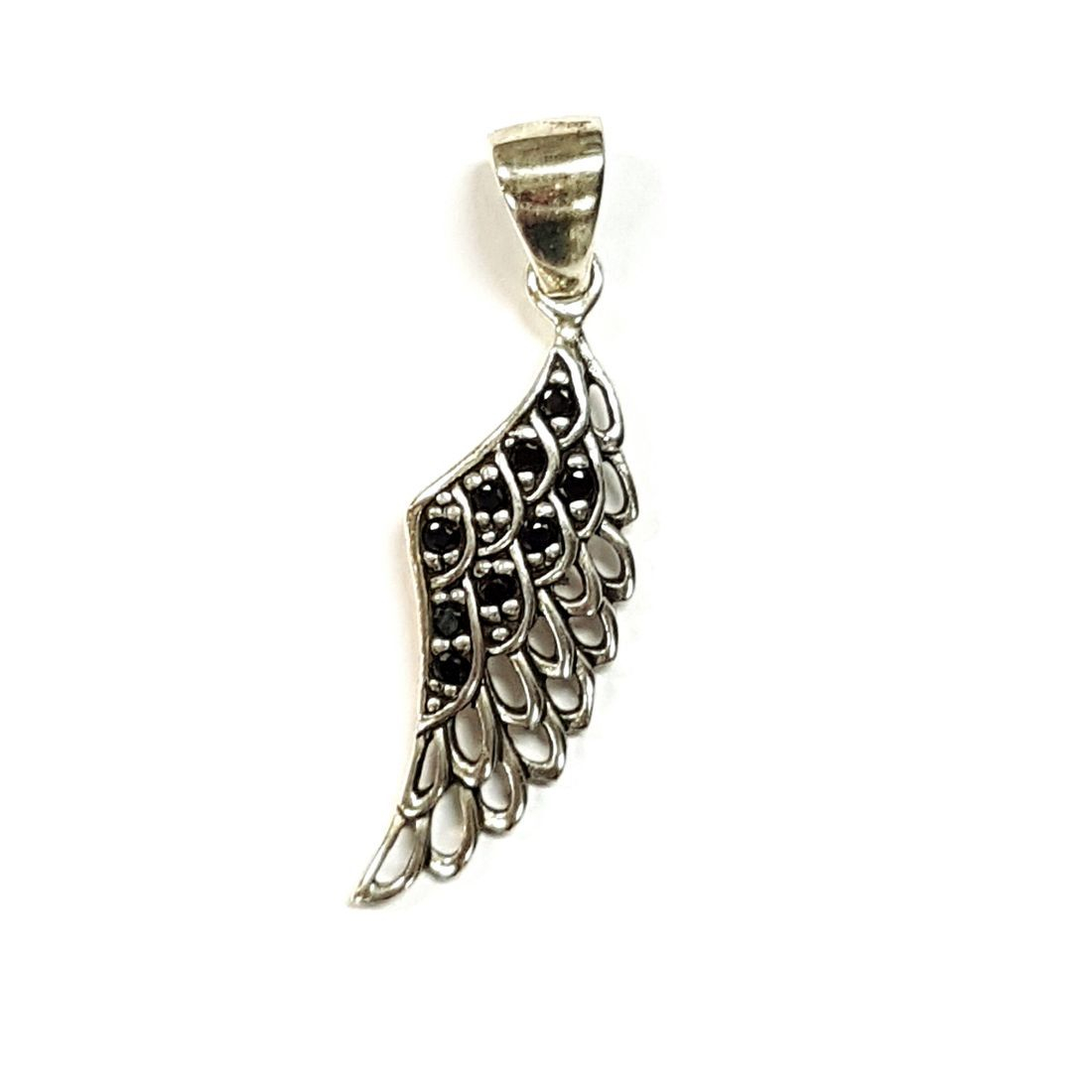 Small Black Crystal Wing Pendant  available at Kazbah online and our Leicester City Centre shop