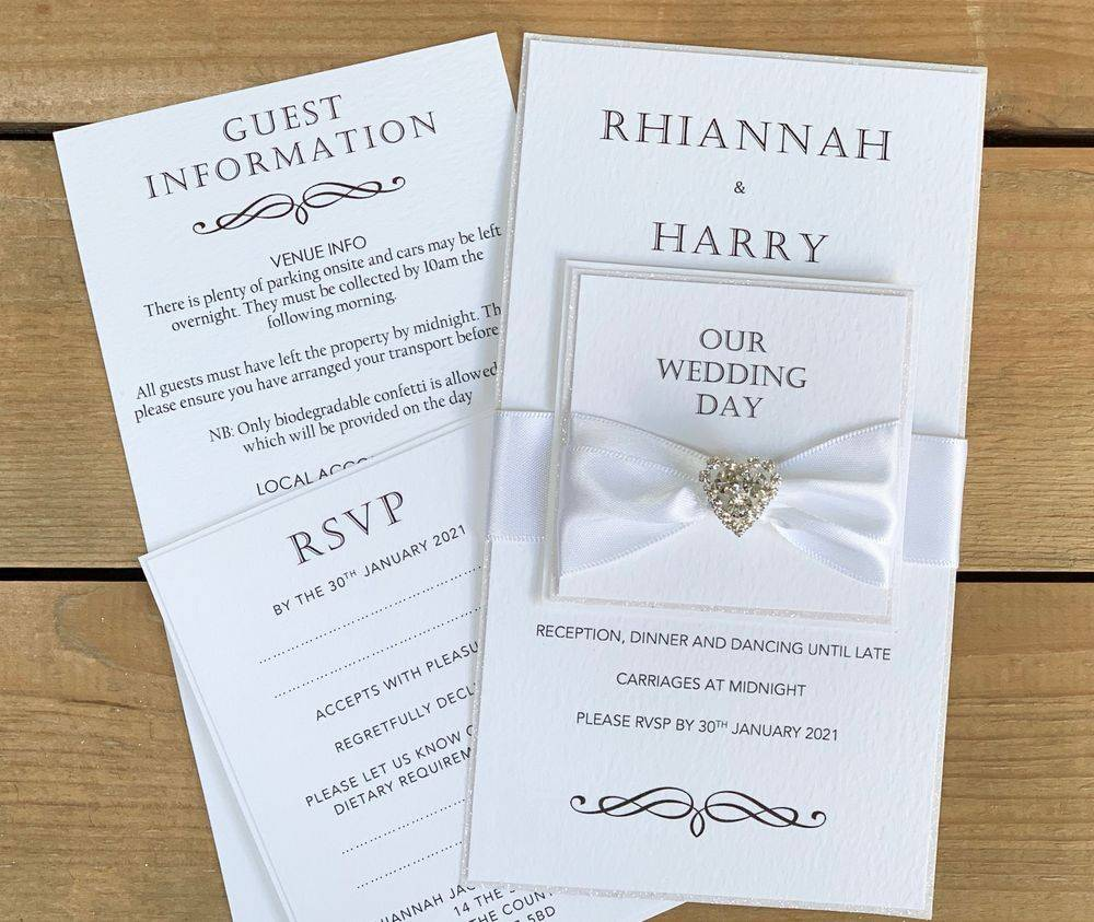 White Glitter Wedding Invitation -  White glitter and crystal heart