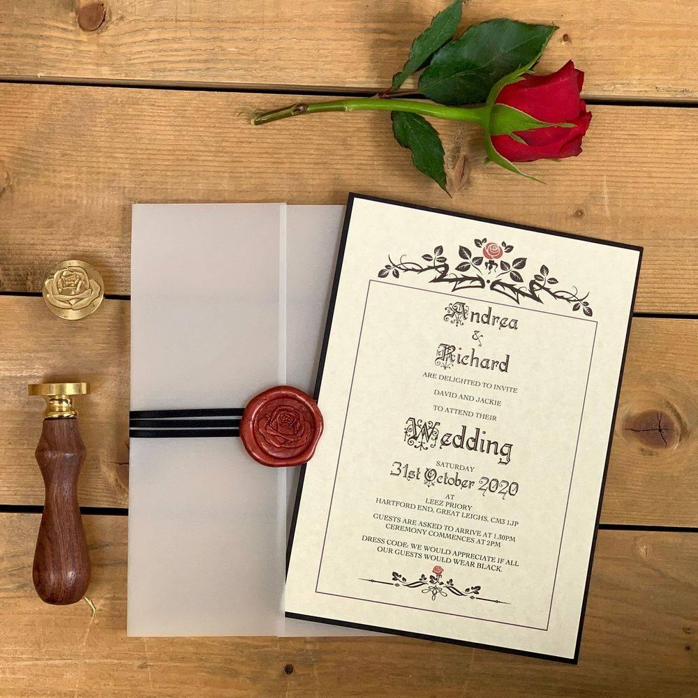 Beauty and the Beast Wedding Invite, Disney Style Wedding Invitation, Gothic Wedding Invitaion