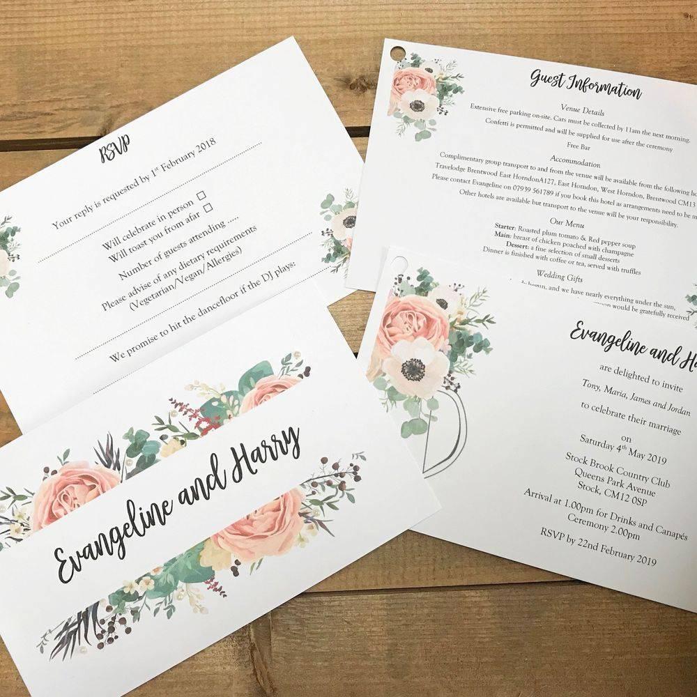 Rustic peony wedding invite